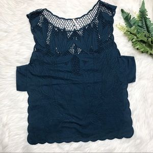 Free People Embroidered Open Side Tank